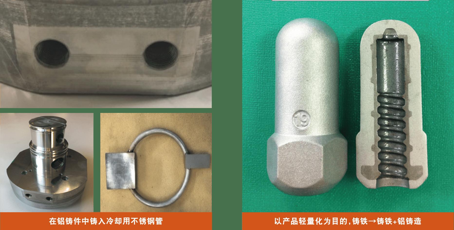 在铝铸件中铸入冷却用不锈钢管